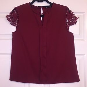 Burgundy/Red Short Sleeve Lace Blouse